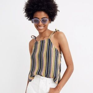 Madewell Tie-Shoulder Tank Top in Rainbow Crochet